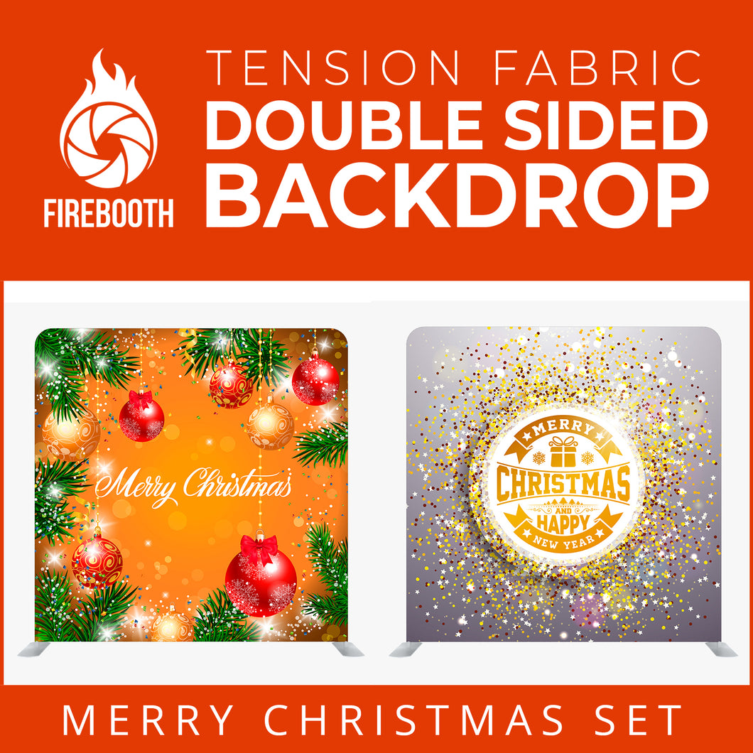 Merry Christmas Set41 Double Sided Tension Fabric Photo Booth Backdrop