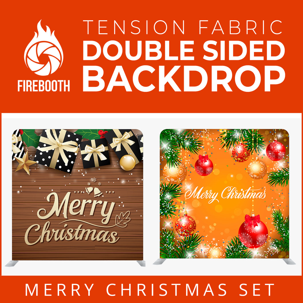 Merry Christmas Set44 Double Sided Tension Fabric Photo Booth Backdrop
