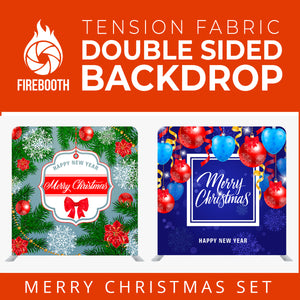 Merry Christmas Set45 Double Sided Tension Fabric Photo Booth Backdrop