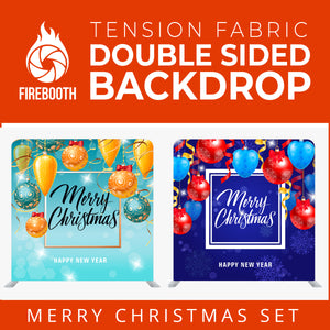 Merry Christmas Set46 Double Sided Tension Fabric Photo Booth Backdrop