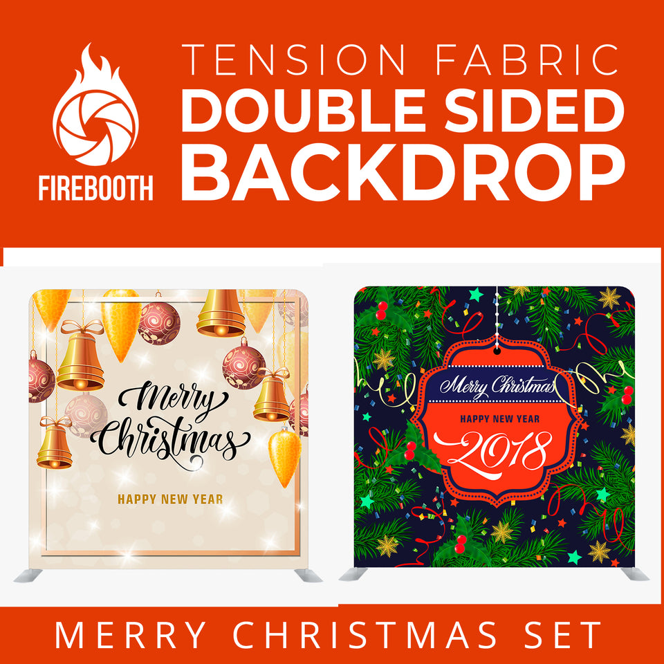 Merry Christmas Set47 Double Sided Tension Fabric Photo Booth Backdrop