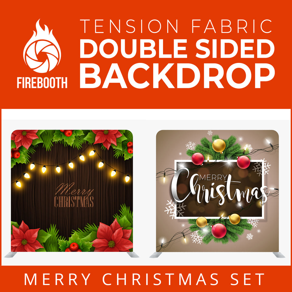 Christmas Set-43 Double Sided Square Tension Fabric Photo Booth Backdrop