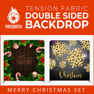 Christmas Set-44 Double Sided Square Tension Fabric Photo Booth Backdrop