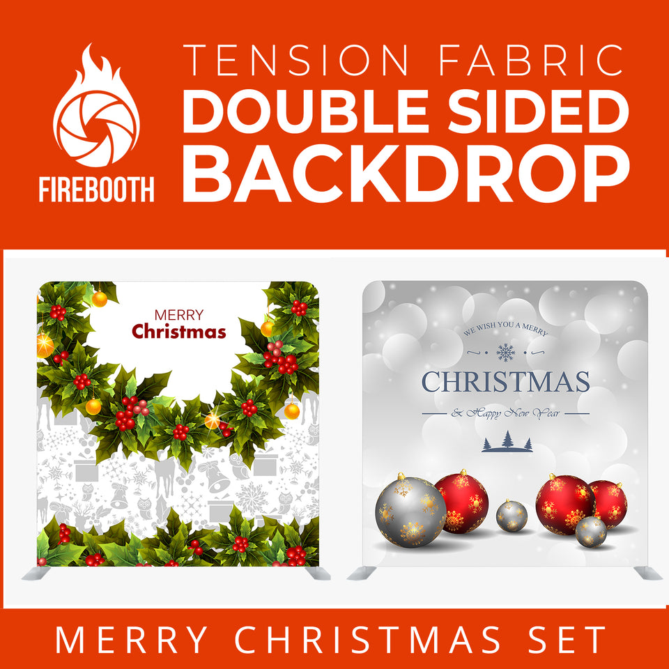 Merry Christmas Set54 Double Sided Tension Fabric Photo Booth Backdrop