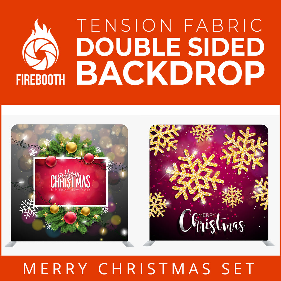Christmas Set-50 Double Sided Square Tension Fabric Photo Booth Backdrop