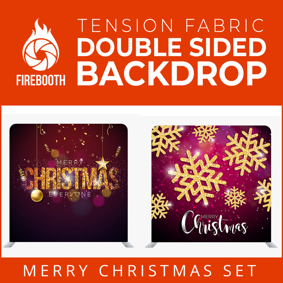 Christmas Set-51 Double Sided Square Tension Fabric Photo Booth Backdrop