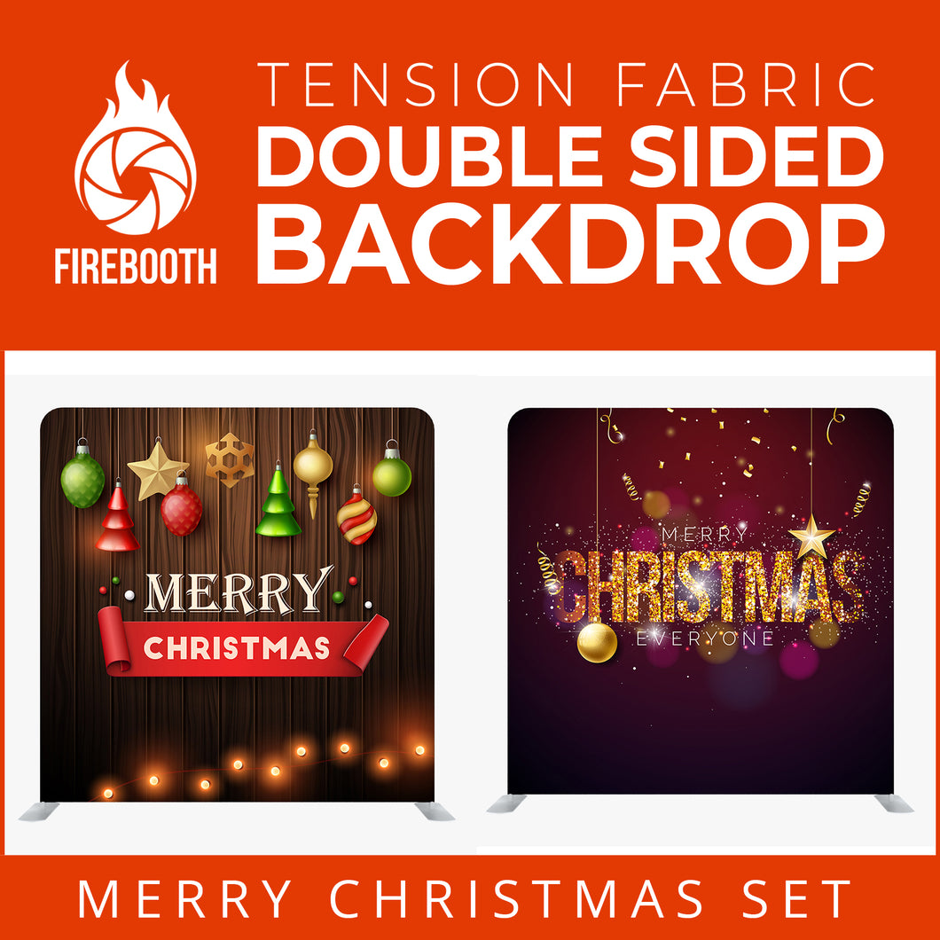 Christmas Set-54 Double Sided Square Tension Fabric Photo Booth Backdrop