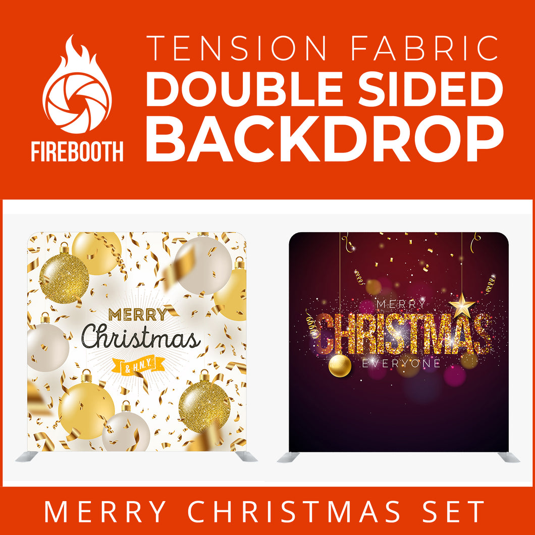 Christmas Set-55 Double Sided Square Tension Fabric Photo Booth Backdrop