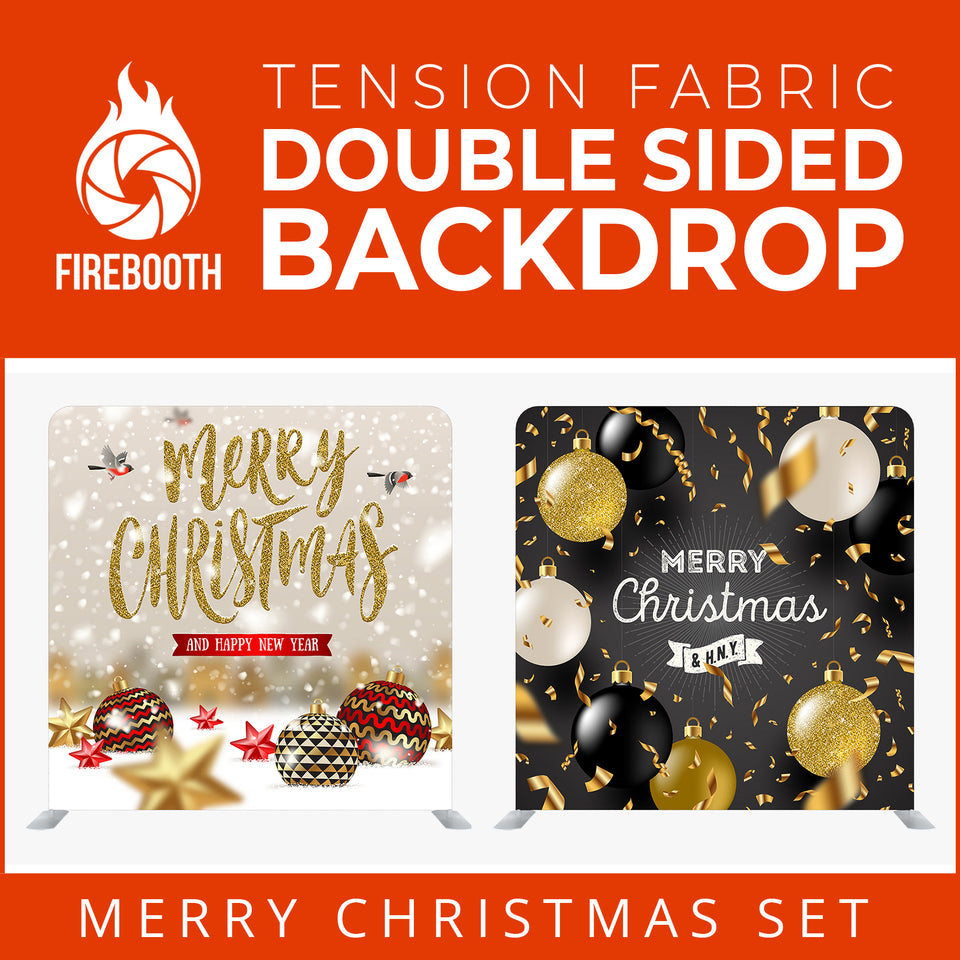 Christmas Set-57 Double Sided Square Tension Fabric Photo Booth Backdrop