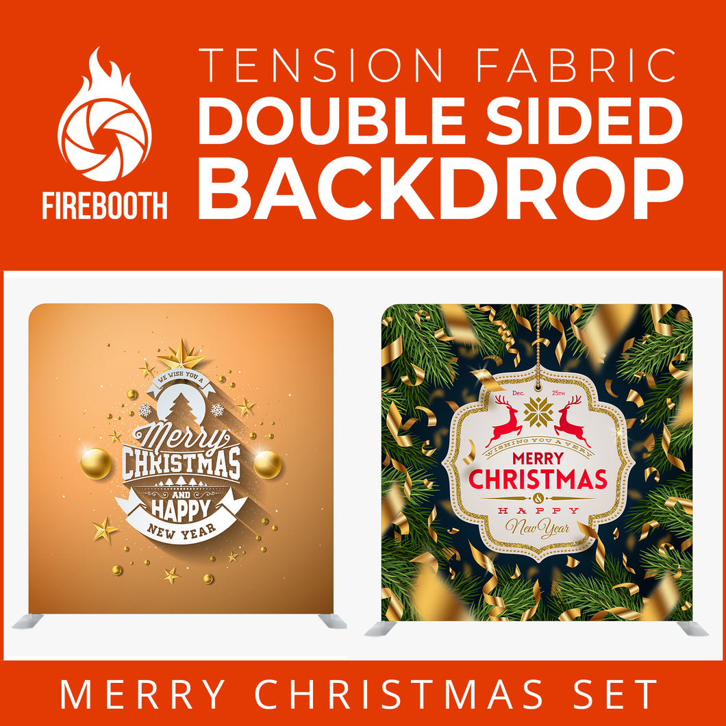 Christmas Set-60 Double Sided Square Tension Fabric Photo Booth Backdrop