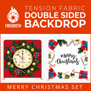 Christmas Set-61 Double Sided Square Tension Fabric Photo Booth Backdrop
