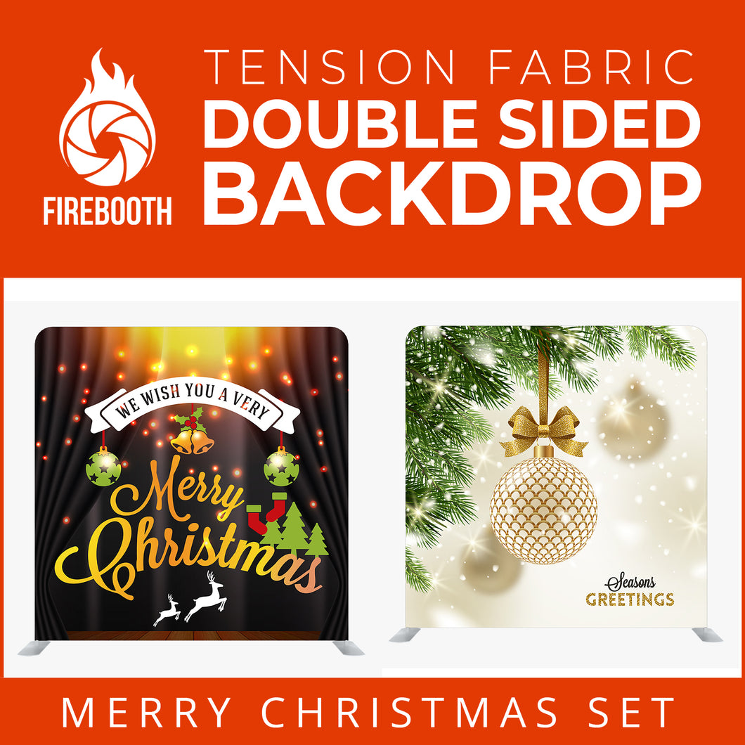 Christmas Set-63 Double Sided Square Tension Fabric Photo Booth Backdrop