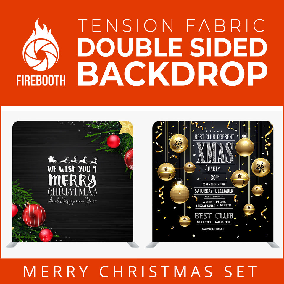 Christmas Set-07 Double Sided Square Tension Fabric Photo Booth Backdrop