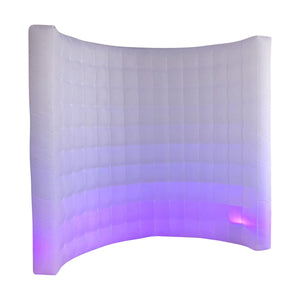 White LED Inflatable Photo Booth Curved Wall