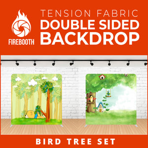 Bird Tree Set Double Sided Tension Fabric Photo Booth Backdrop