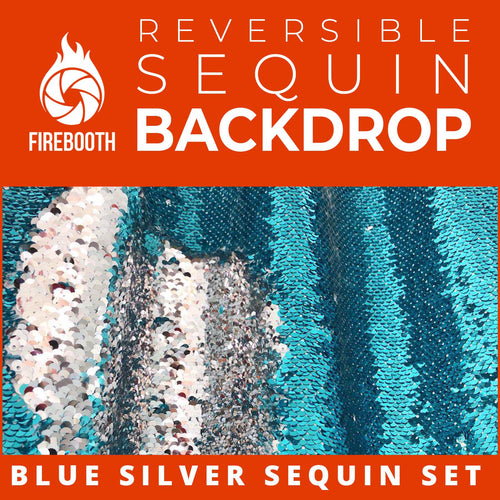Blue Silver Reversible Sequin Photo Booth Backdrop