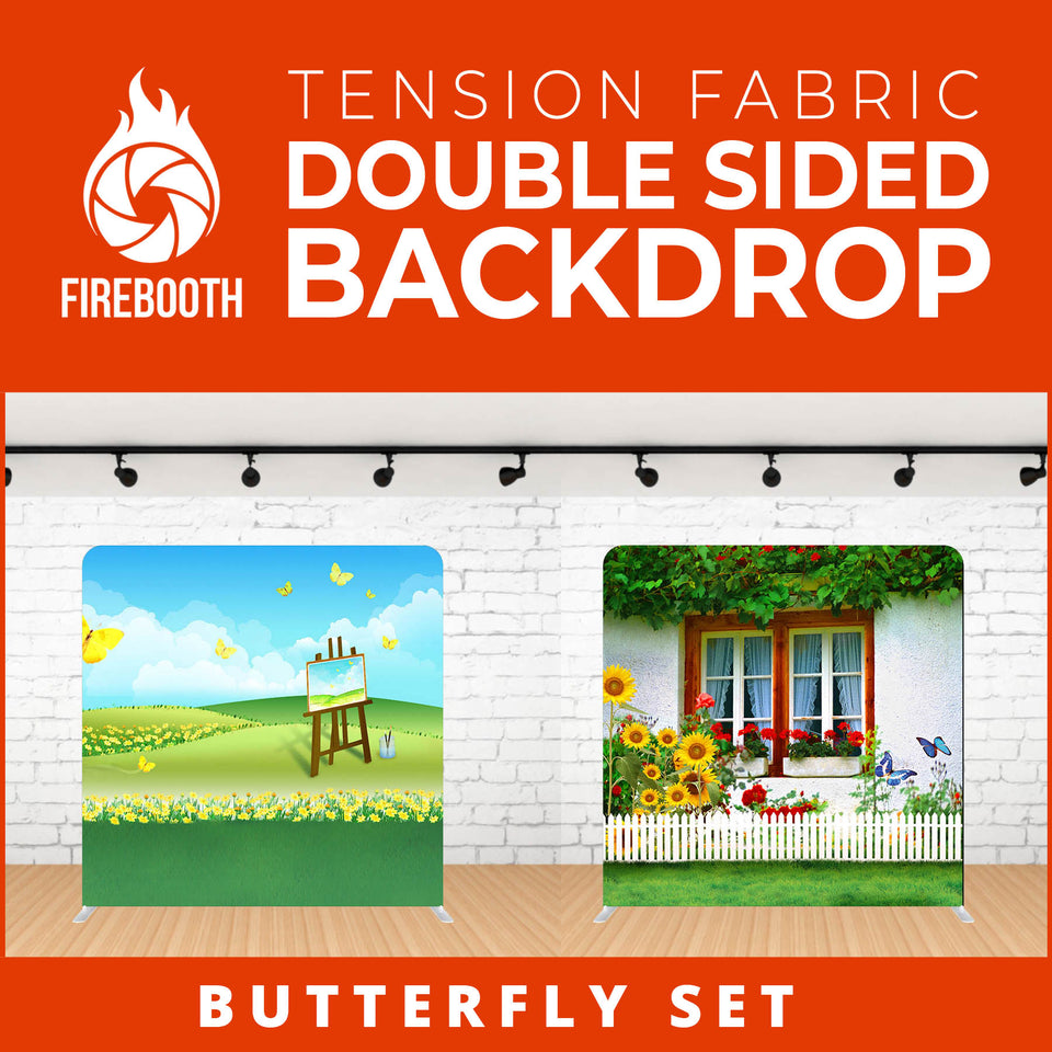 Butterfly Set Double Sided Tension Fabric Photo Booth Backdrop