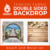 Beach and Wood Set Double Sided Tension Fabric Photo Booth Backdrop