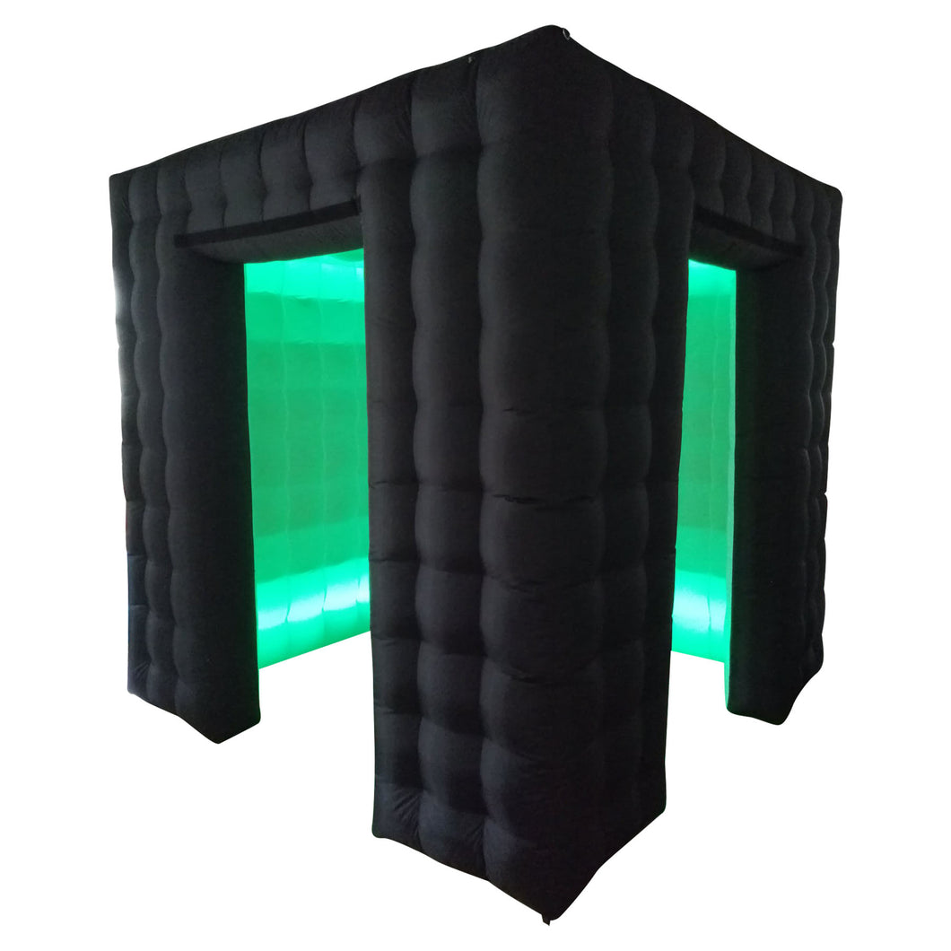 Black LED Inflatable Photo Booth Cube Enclosure