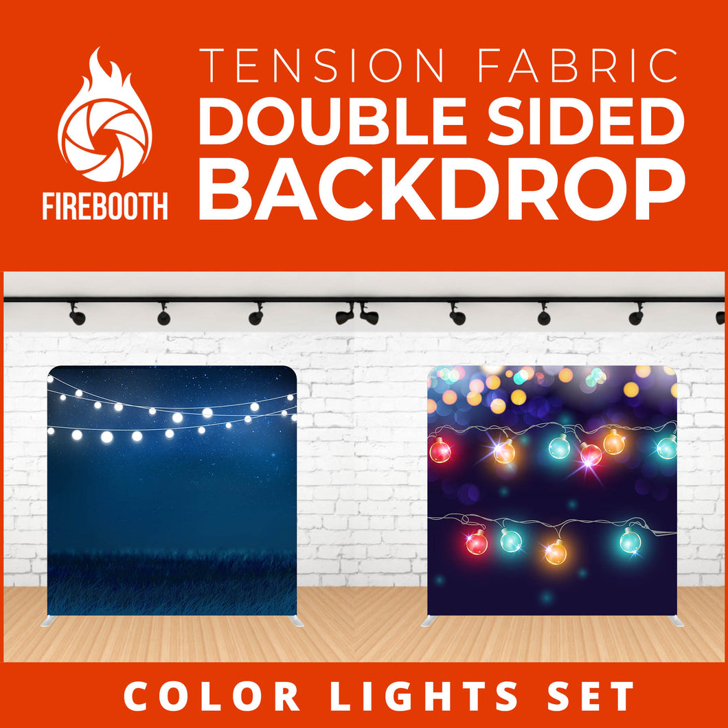 Color Lights Set-3 Double Sided Tension Fabric Photo Booth Backdrop