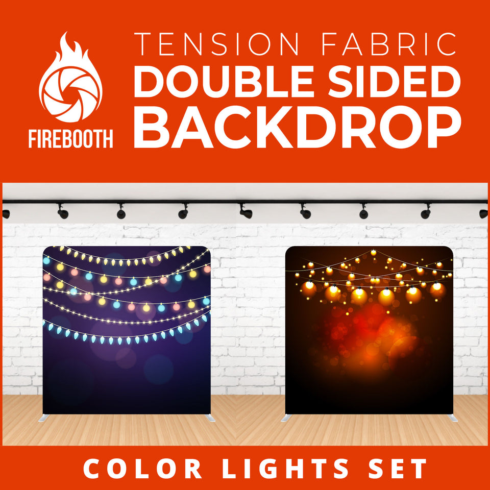 Color Lights Set-6 Double Sided Tension Fabric Photo Booth Backdrop