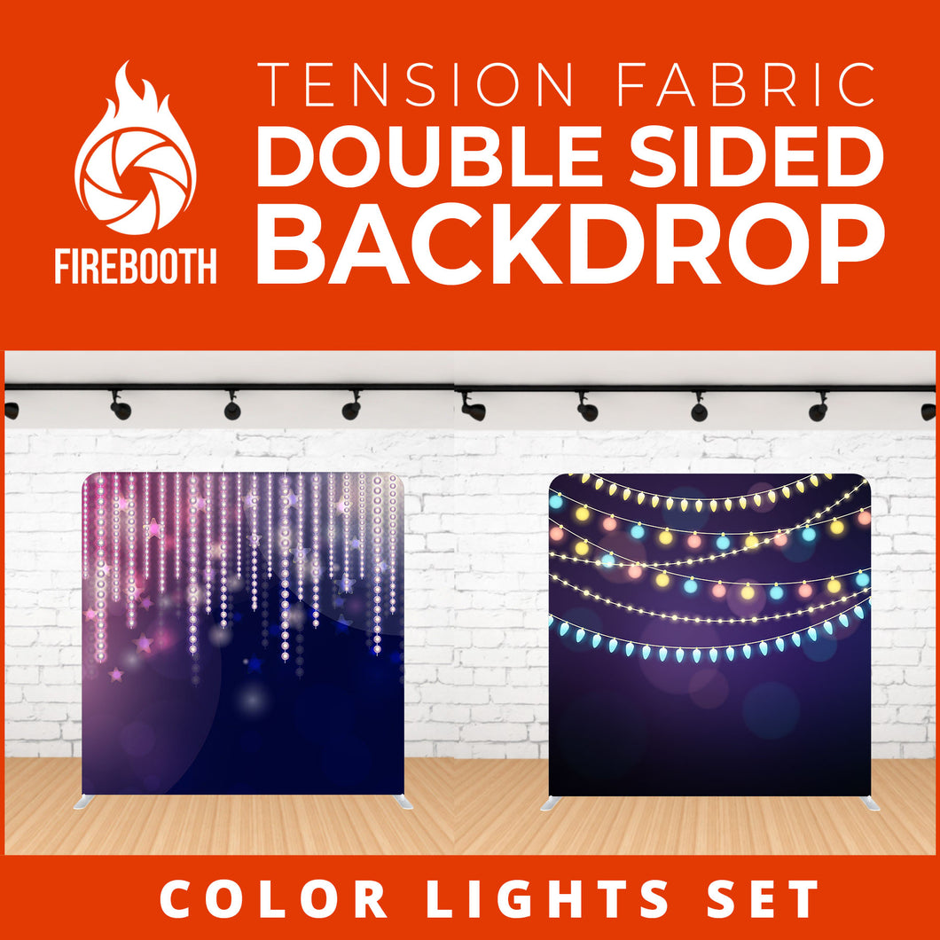 Color Lights Set-8 Double Sided Tension Fabric Photo Booth Backdrop