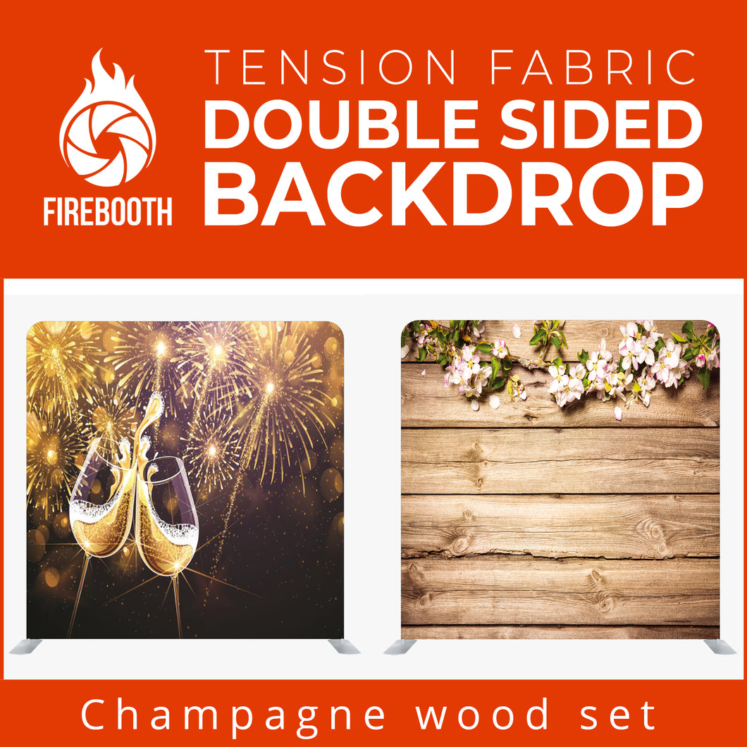 Champagne Wood Set Double Sided Tension Fabric Photo Booth Backdrop