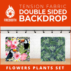 Flower Plants Set-4 Double Sided Tension Fabric Photo Booth Backdrop