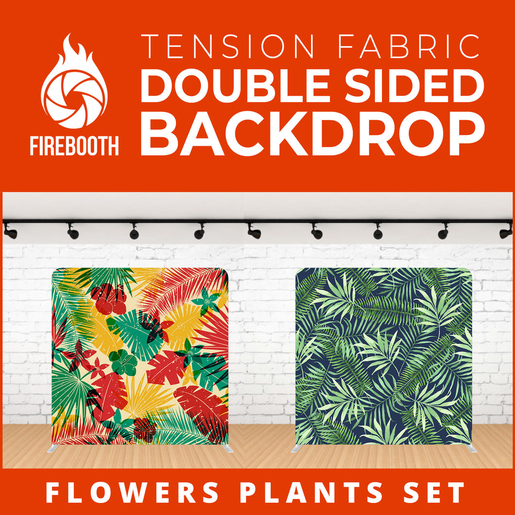 Flower Plants Set-5 Double Sided Tension Fabric Photo Booth Backdrop