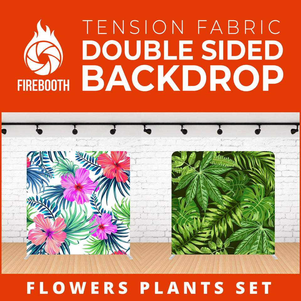 Flower Plants Set-8 Double Sided Tension Fabric Photo Booth Backdrop