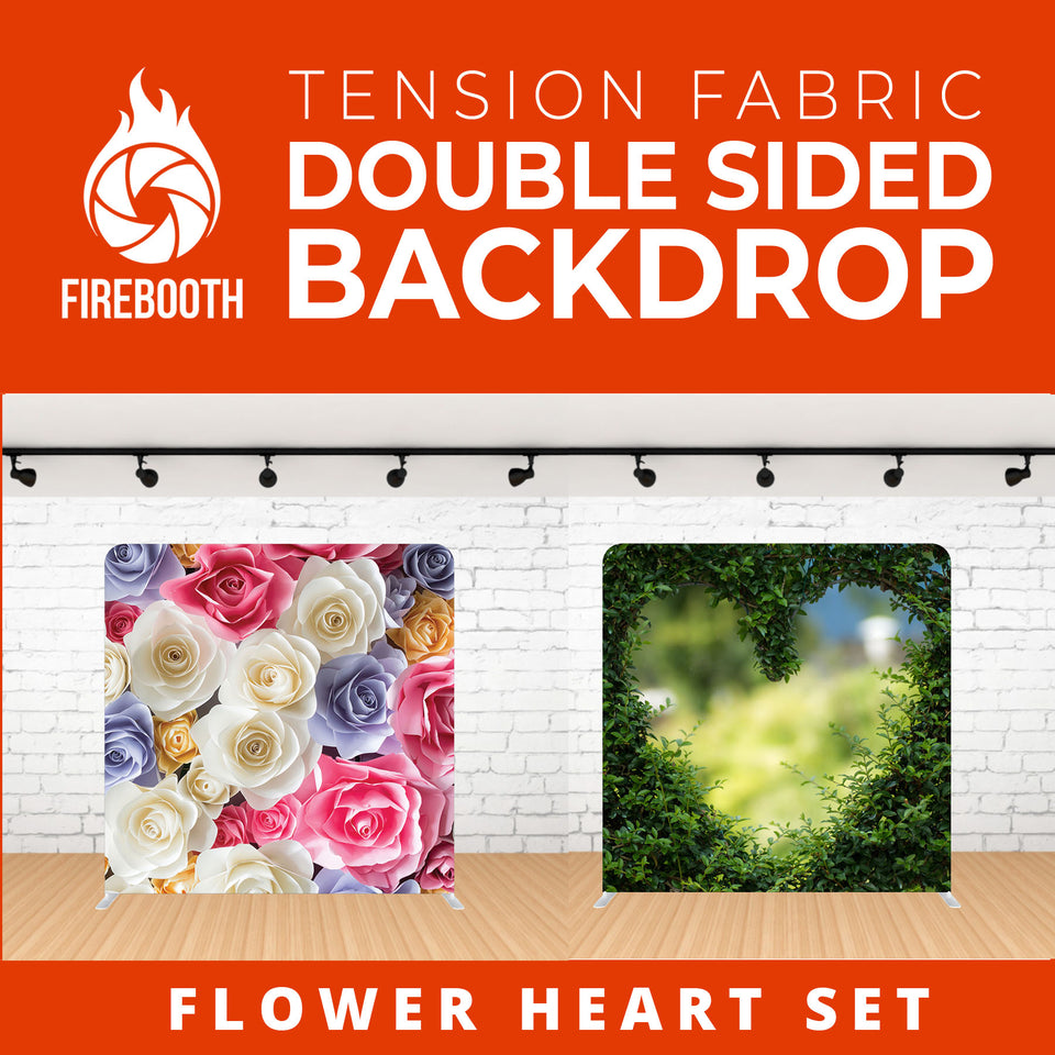 Flower Heart Set-1 Double Sided Tension Fabric Photo Booth Backdrop