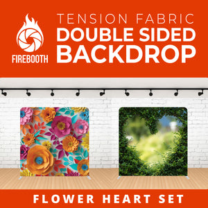 Flower Heart Set Double Sided Tension Fabric Photo Booth Backdrop