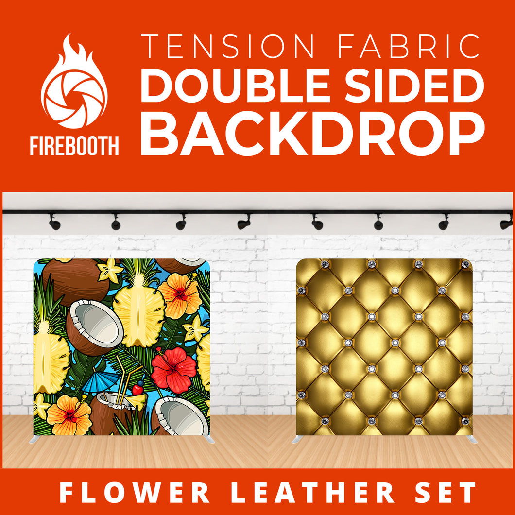 Flower Leather Set-1 Double Sided Tension Fabric Photo Booth Backdrop