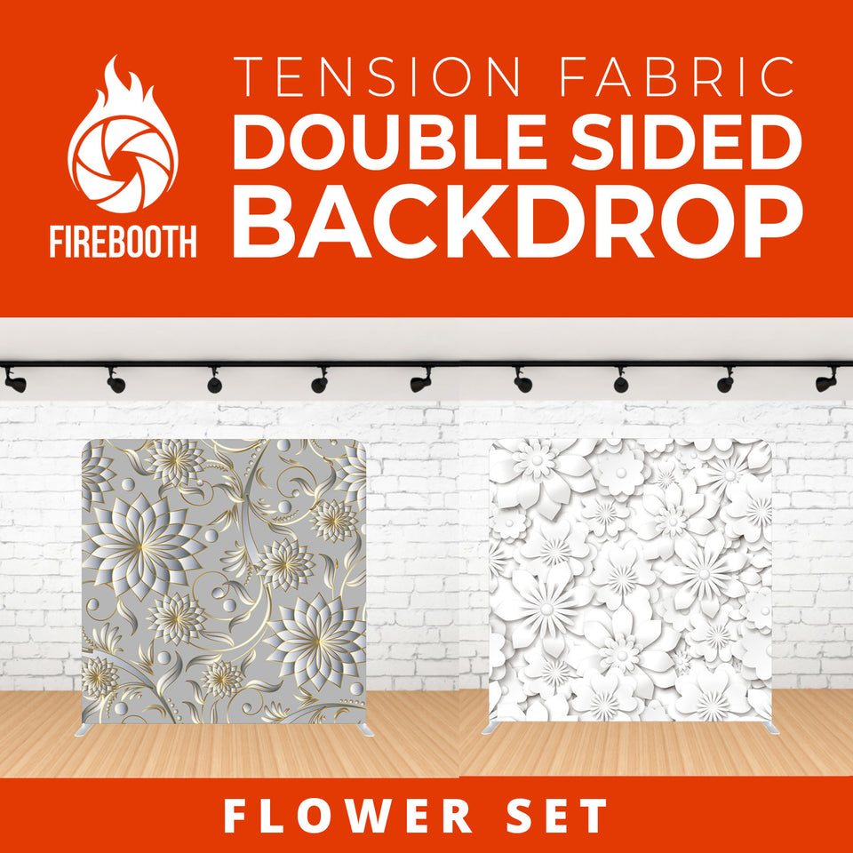 Flower Set-3 Double Sided Tension Fabric Photo Booth Backdrop