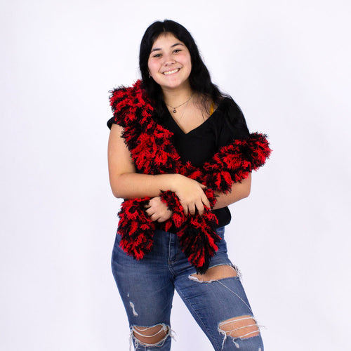 FireBooth™ No Mess Super Sized Featherless Boa - Black and Red