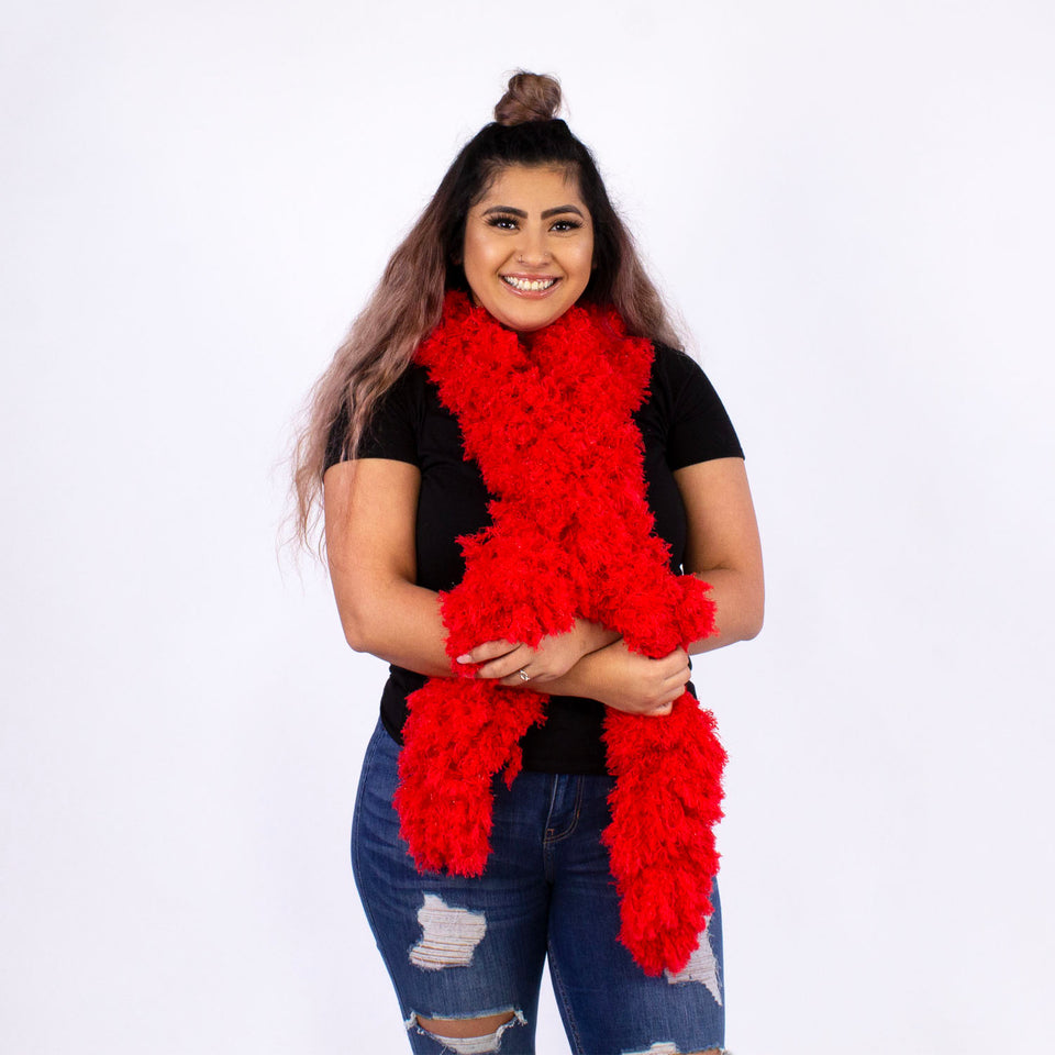 FireBooth™ No Mess Super Sized Featherless Boa - Red
