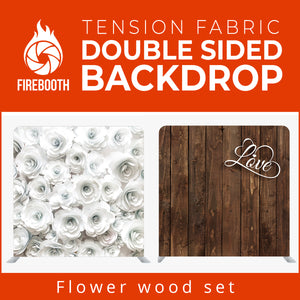 Flower Wood Set Double Sided Tension Fabric Photo Booth Backdrop
