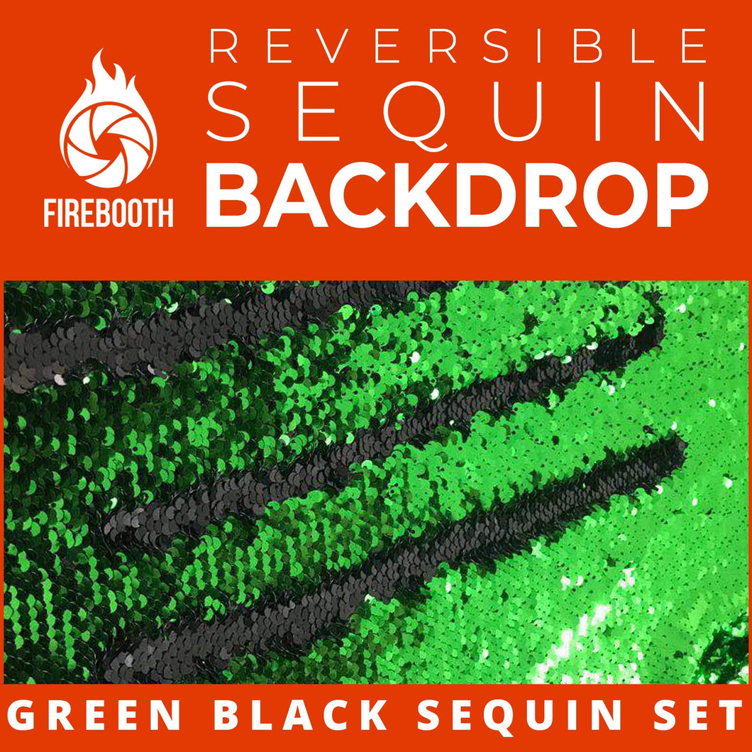 Green Black Reversible Sequin Photo Booth Backdrop
