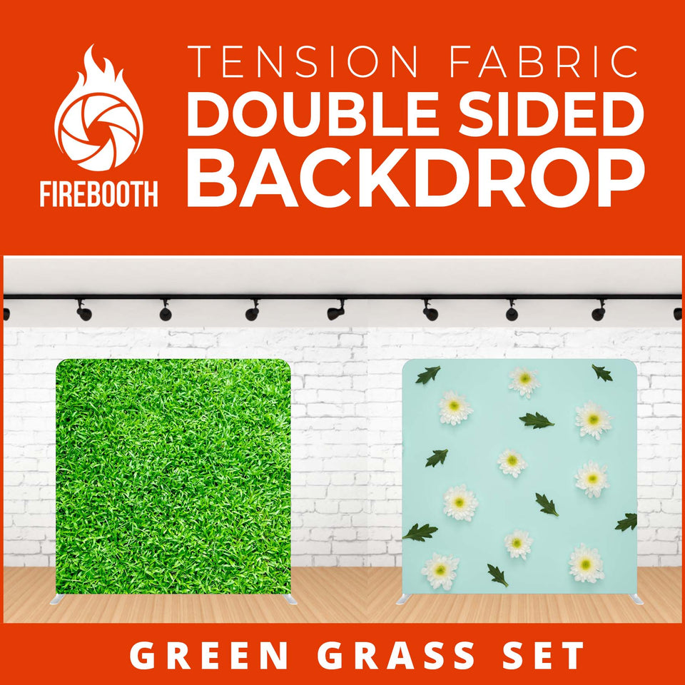 Green Grass Set Double Sided Tension Fabric Photo Booth Backdrop