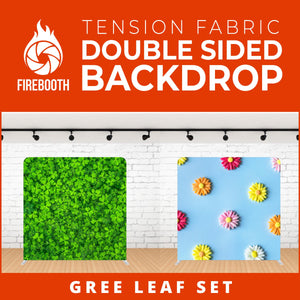 Gree Leaf Set Double Sided Tension Fabric Photo Booth Backdrop