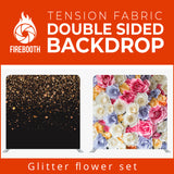 Glitter Flower Set Double Sided Tension Fabric Photo Booth Backdrop
