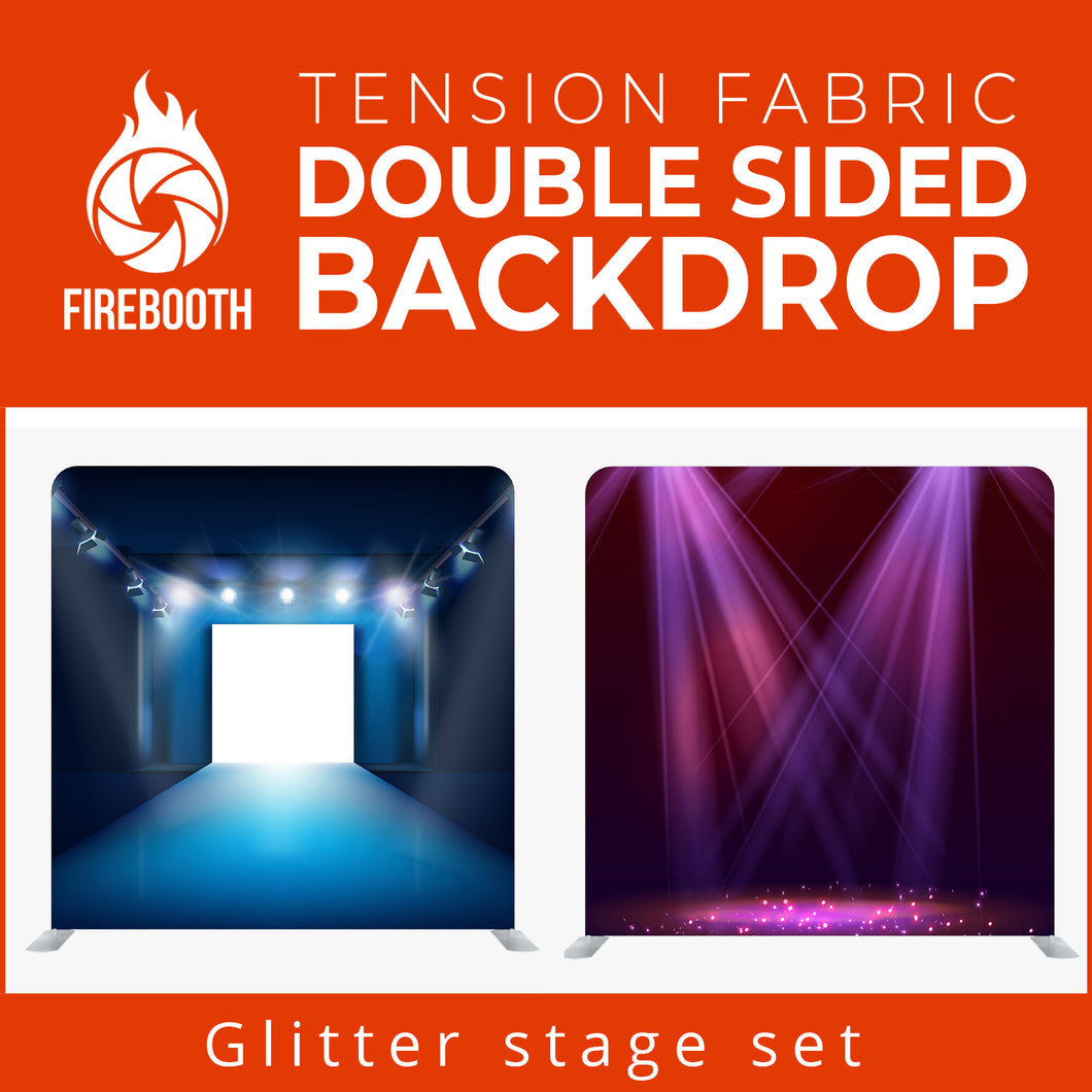 Glitter Stage Set7 Double Sided Tension Fabric Photo Booth Backdrop