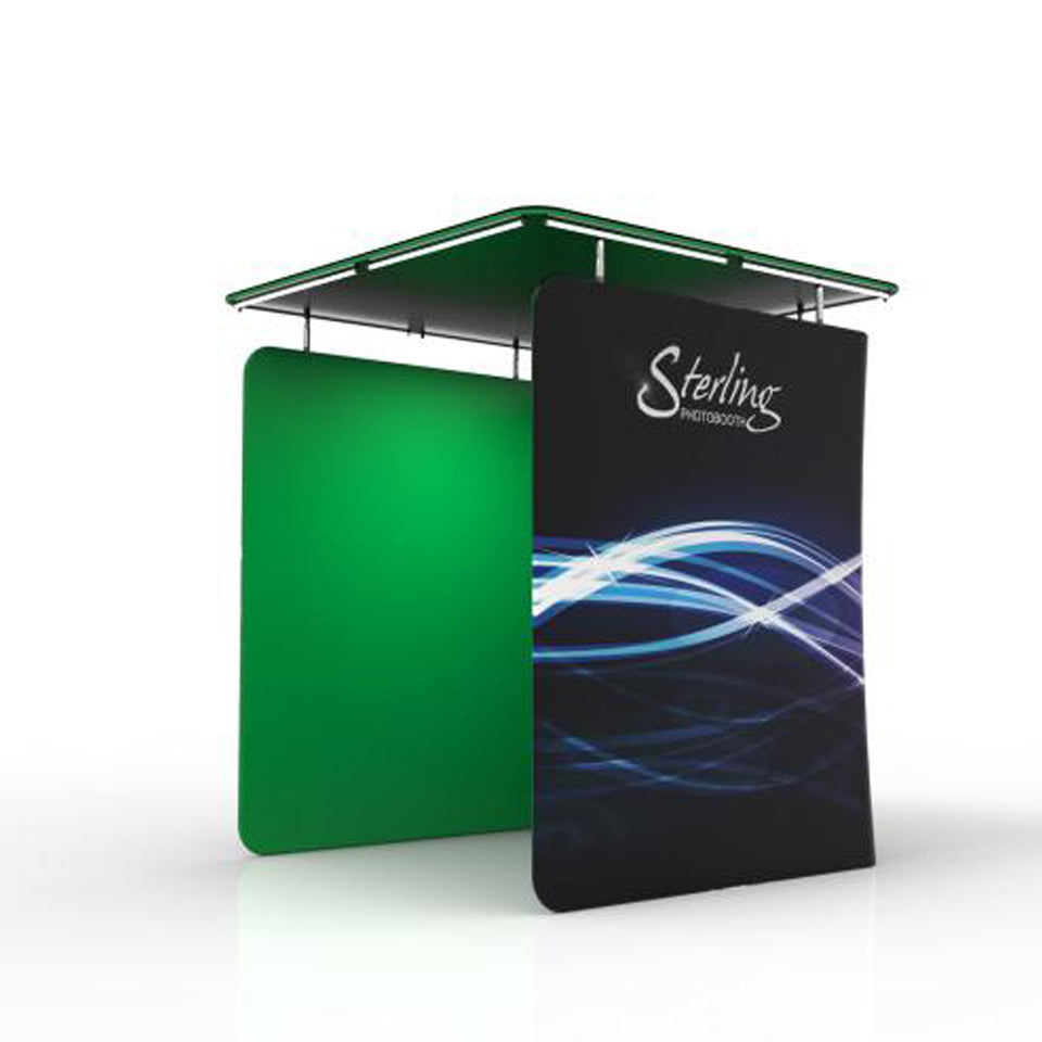 Green Screen Photo Booth Enclosure with LED Roof Top
