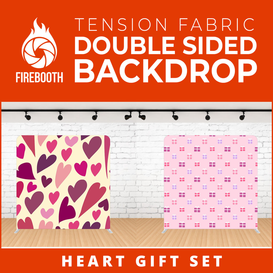 Heart Gift Set Double Sided Tension Fabric Photo Booth Backdrop