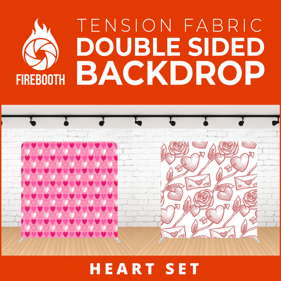 Heart Set-4 Double Sided Tension Fabric Photo Booth Backdrop