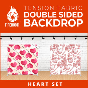 Heart Set-2 Double Sided Tension Fabric Photo Booth Backdrop