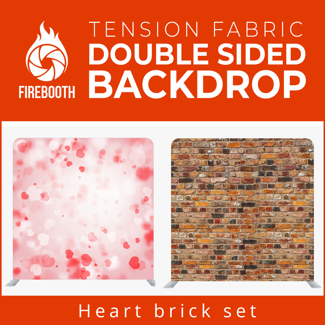 Heart Brick Set Double Sided Tension Fabric Photo Booth Backdrop