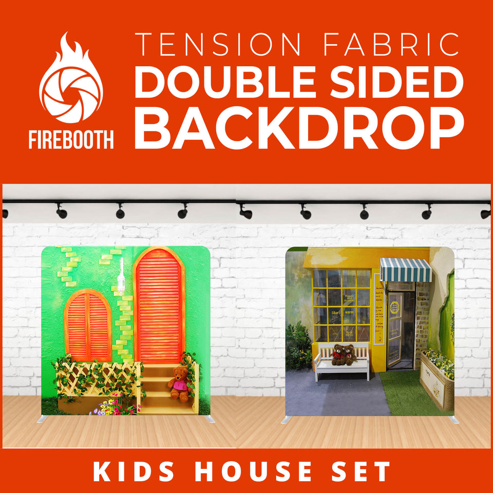 Kids House Set Double Sided Tension Fabric Photo Booth Backdrop