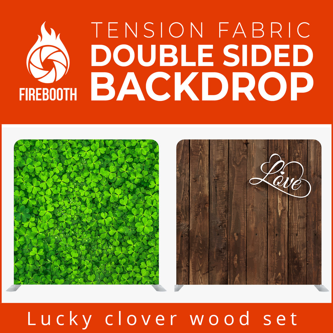 Lucky Clover Wood Set Double Sided Tension Fabric Photo Booth Backdrop