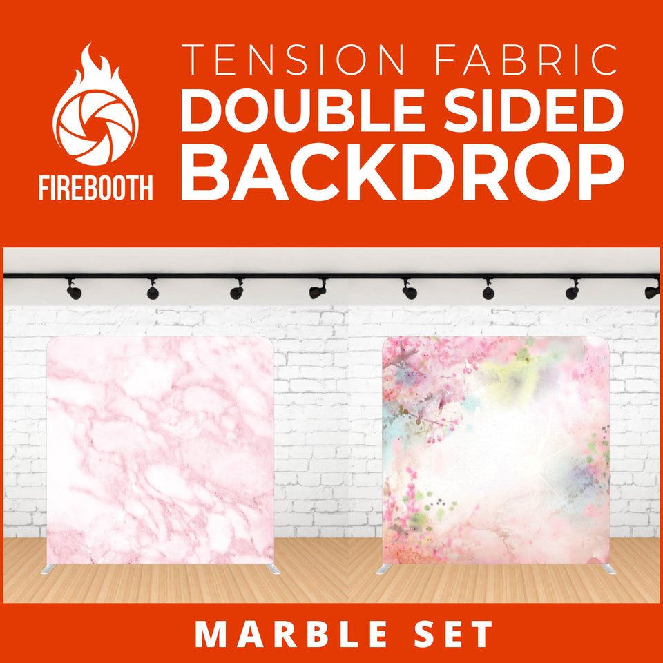 Marble Set Double Sided Tension Fabric Photo Booth Backdrop